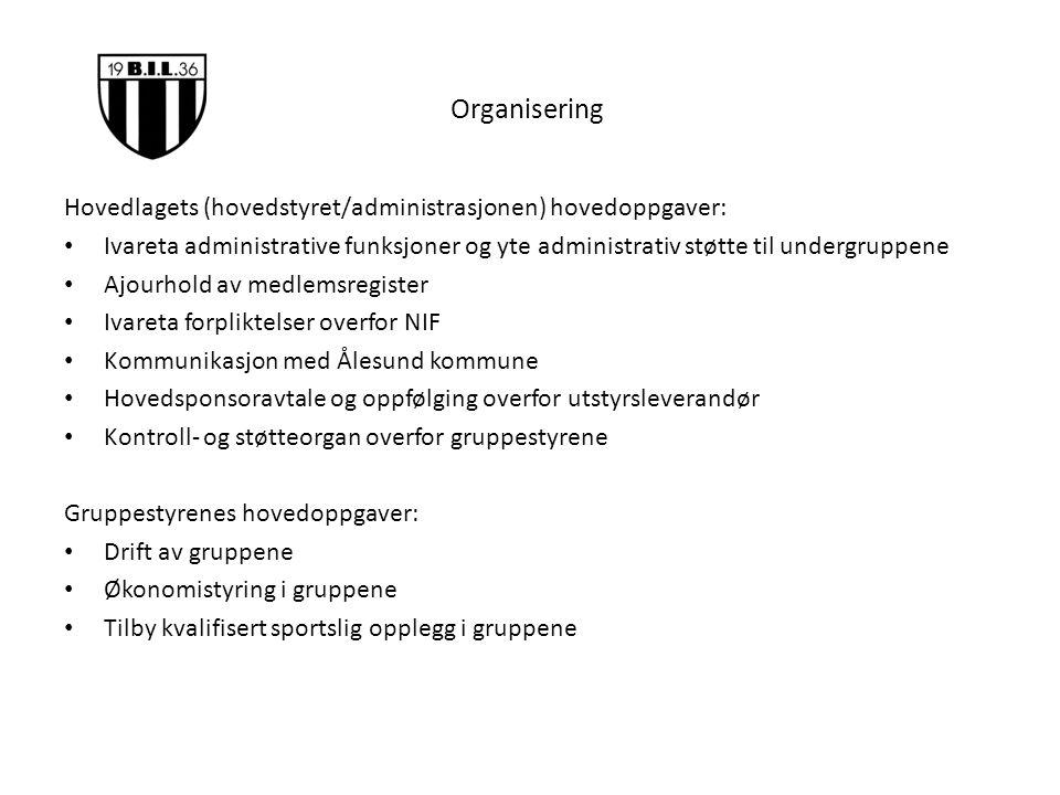 Organisering Hovedlagets (hovedstyret/administrasjonen) hovedoppgaver: Ivareta administrative funksjoner og yte administrativ støtte til undergruppene