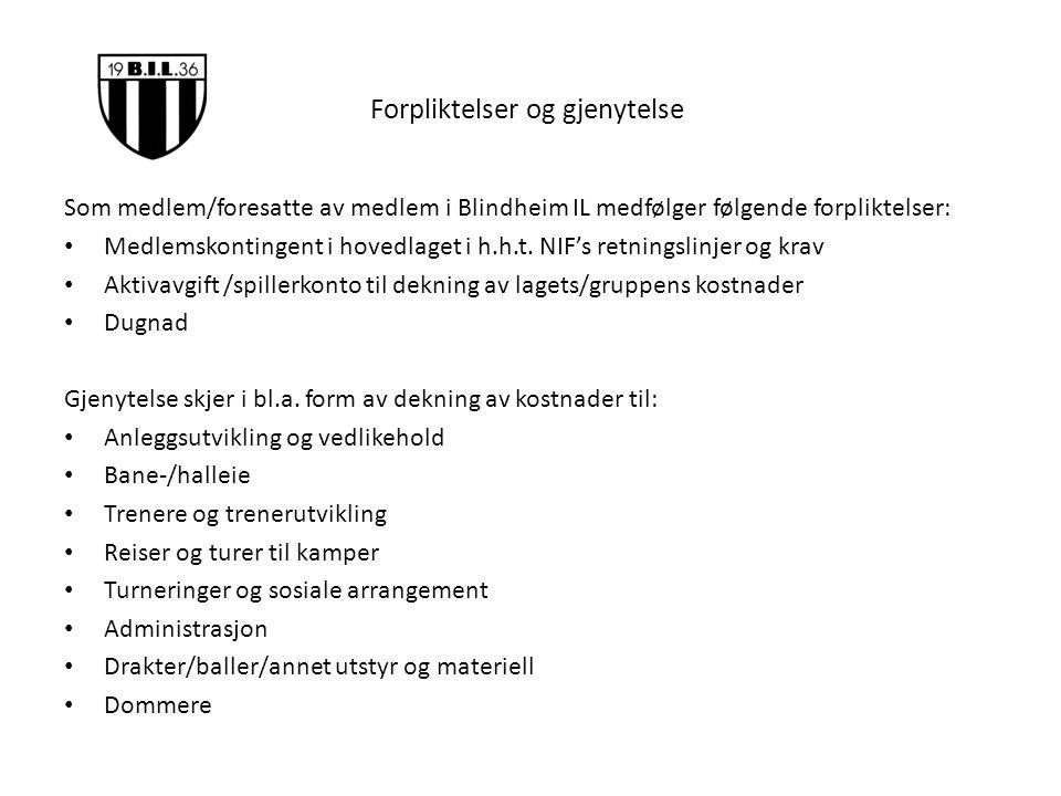 Forpliktelser og gjenytelse Som medlem/foresatte av medlem i Blindheim IL medfølger følgende forpliktelser: Medlemskontingent i hovedlaget i h.h.t.