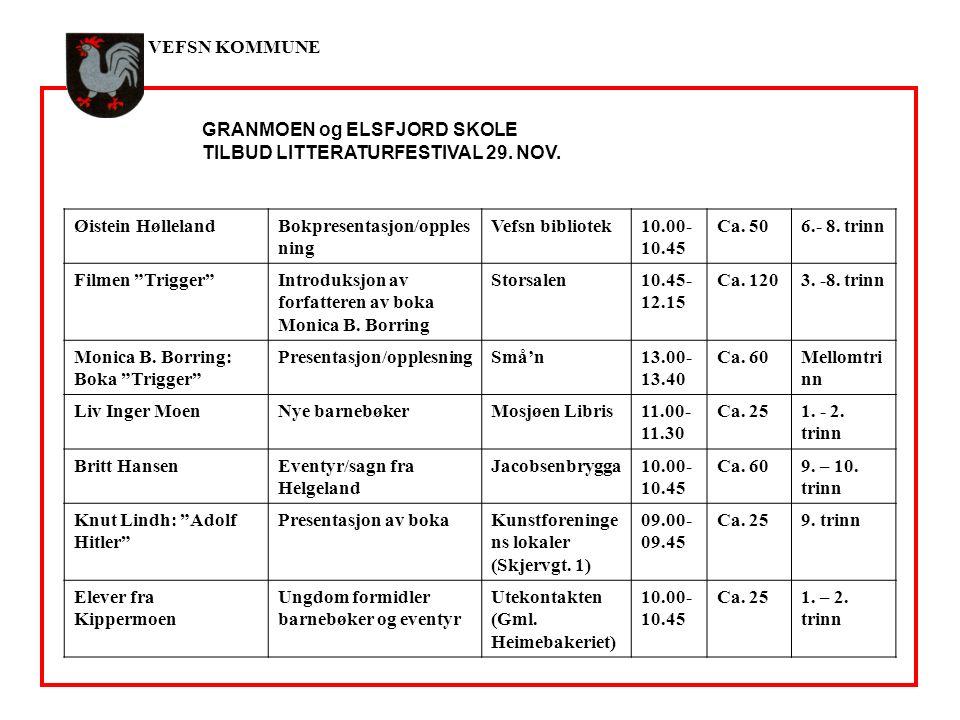 VEFSN KOMMUNE GRANMOEN og ELSFJORD SKOLE TILBUD LITTERATURFESTIVAL 29.