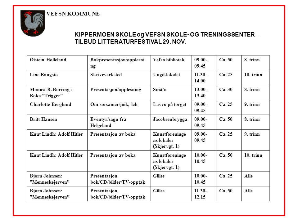 VEFSN KOMMUNE KIPPERMOEN SKOLE og VEFSN SKOLE- OG TRENINGSSENTER – TILBUD LITTERATURFESTIVAL 29.