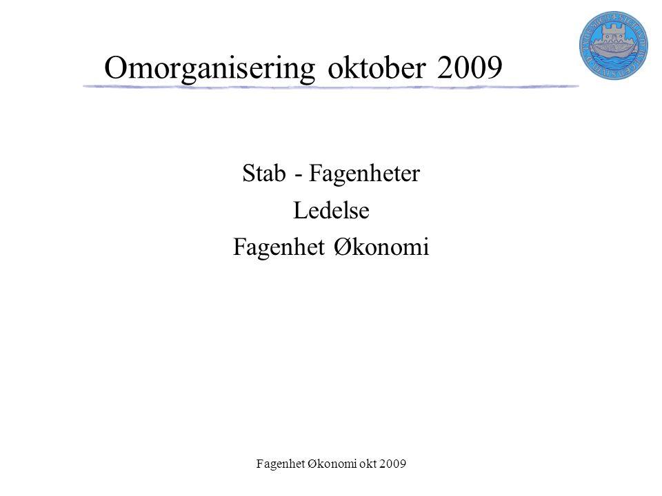 Fagenhet Økonomi okt 2009 Omorganisering oktober 2009 Stab - Fagenheter Ledelse Fagenhet Økonomi