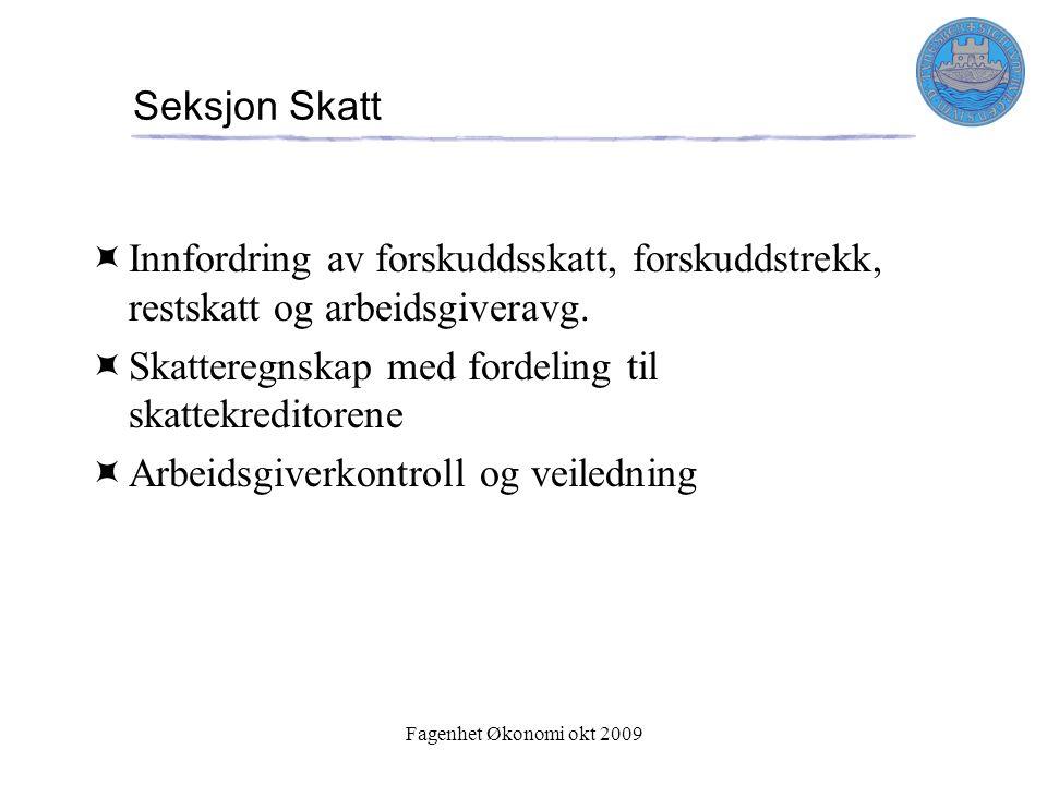 Fagenhet Økonomi okt 2009 Seksjon Skatt  Innfordring av forskuddsskatt, forskuddstrekk, restskatt og arbeidsgiveravg.  Skatteregnskap med fordeling