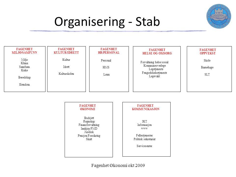 Organisering - Stab FAGENHET OPPVEKST Skole Barnehage SLT FAGENHET HELSE OG OMSORG Forvaltning helse/sosial Kommuneoverlege Legetjeneste Fengselshelse
