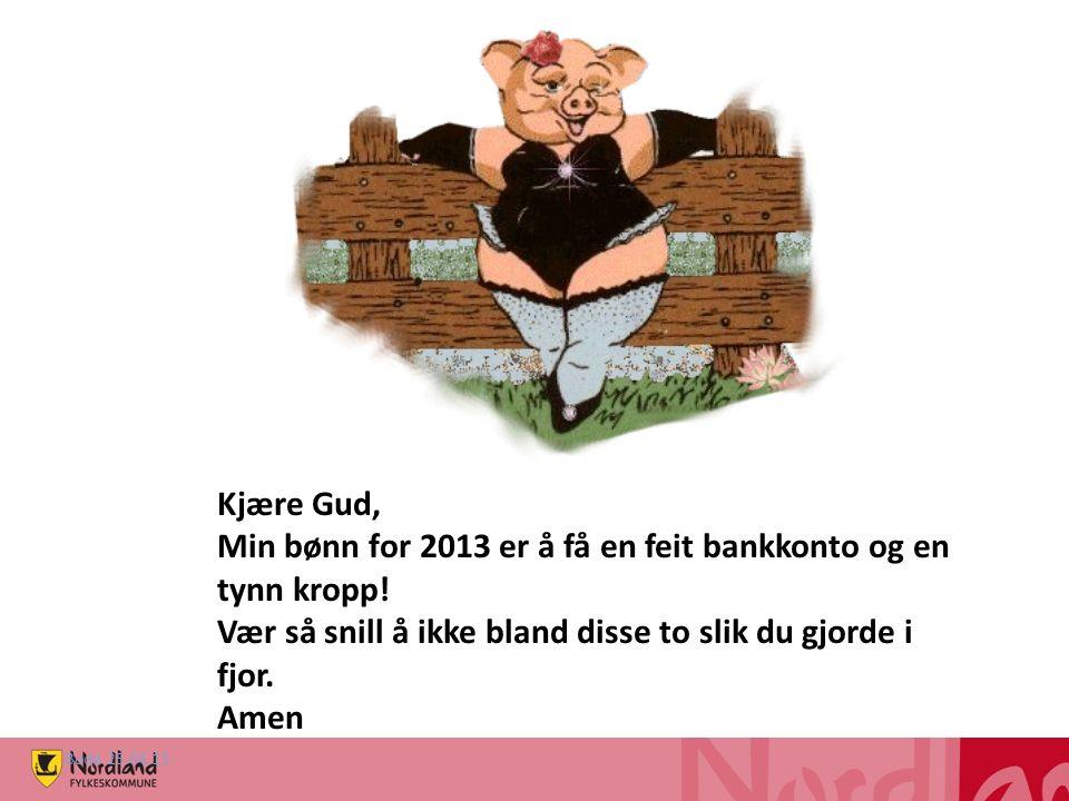 Kjære Gud, Min bønn for 2013 er å få en feit bankkonto og en tynn kropp.