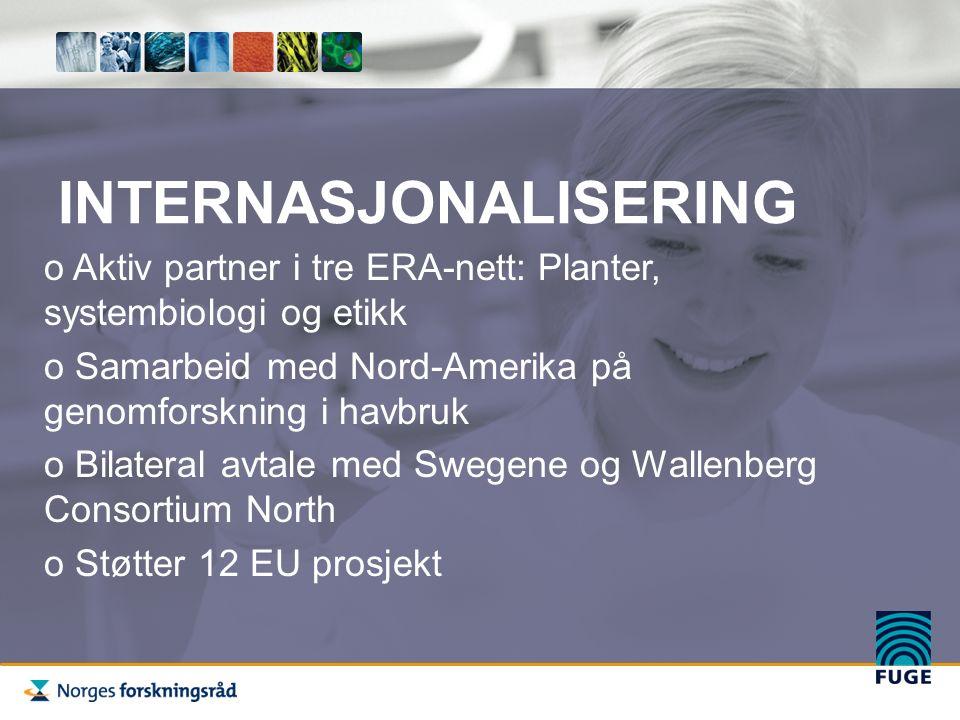 INTERNASJONALISERING o Aktiv partner i tre ERA-nett: Planter, systembiologi og etikk o Samarbeid med Nord-Amerika på genomforskning i havbruk o Bilateral avtale med Swegene og Wallenberg Consortium North o Støtter 12 EU prosjekt