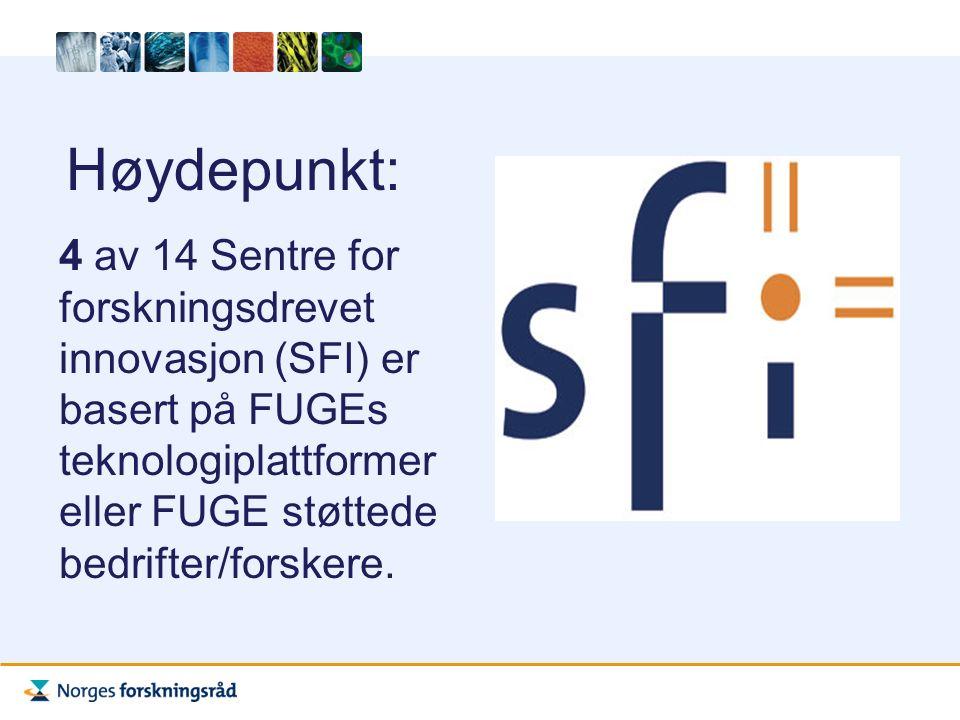 Høydepunkt: 4 av 14 Sentre for forskningsdrevet innovasjon (SFI) er basert på FUGEs teknologiplattformer eller FUGE støttede bedrifter/forskere.