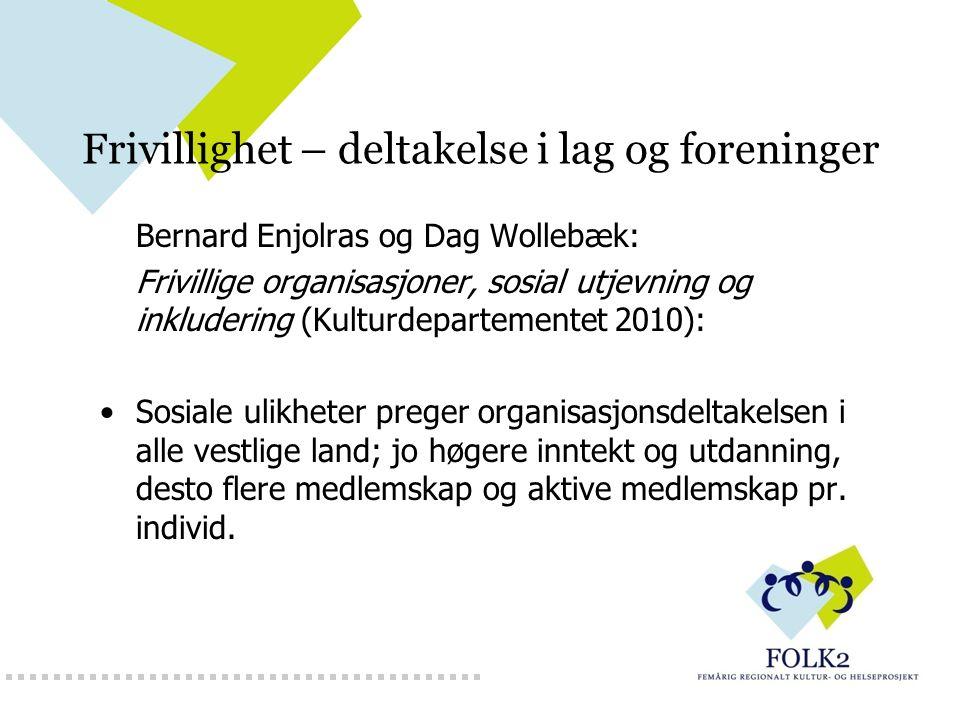 Frivillighet – deltakelse i lag og foreninger Bernard Enjolras og Dag Wollebæk: Frivillige organisasjoner, sosial utjevning og inkludering (Kulturdepa