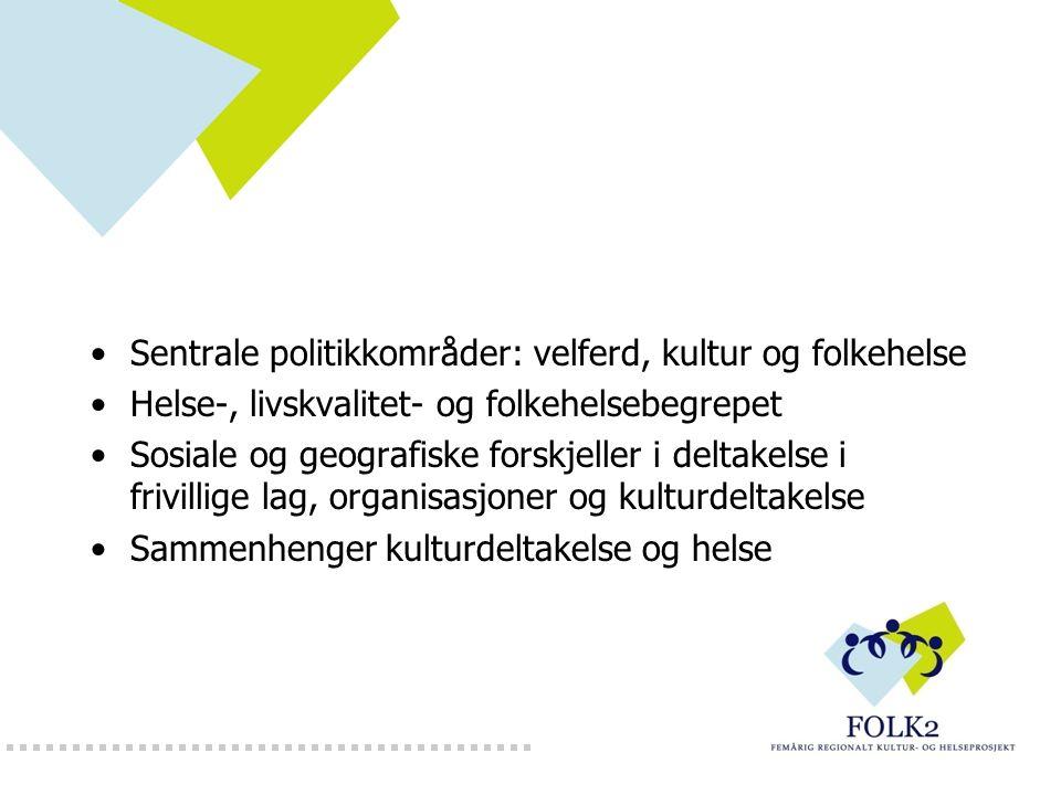 Sentrale politikkområder: velferd, kultur og folkehelse Helse-, livskvalitet- og folkehelsebegrepet Sosiale og geografiske forskjeller i deltakelse i frivillige lag, organisasjoner og kulturdeltakelse Sammenhenger kulturdeltakelse og helse