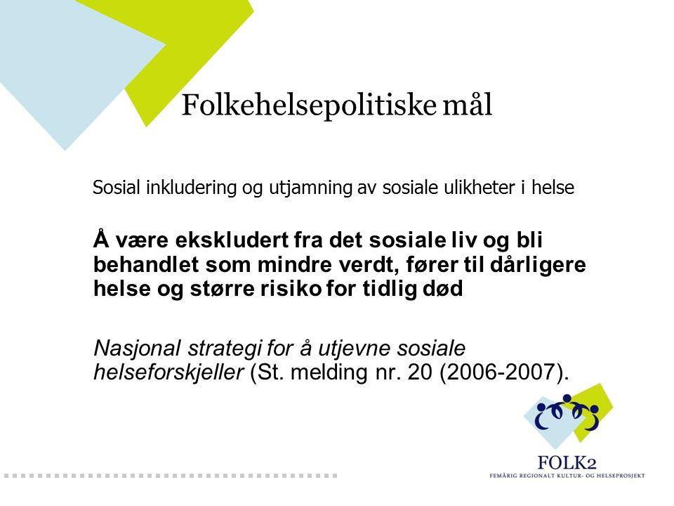 Folkehelsepolitiske mål Sosial inkludering og utjamning av sosiale ulikheter i helse Å være ekskludert fra det sosiale liv og bli behandlet som mindre