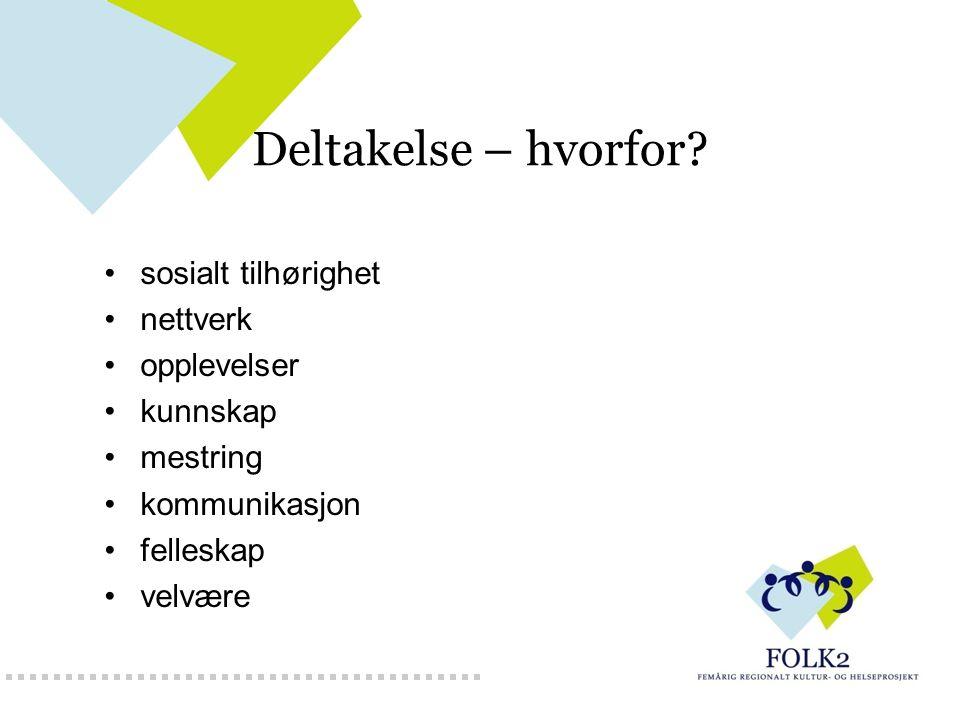 Deltakelse – hvorfor? sosialt tilhørighet nettverk opplevelser kunnskap mestring kommunikasjon felleskap velvære