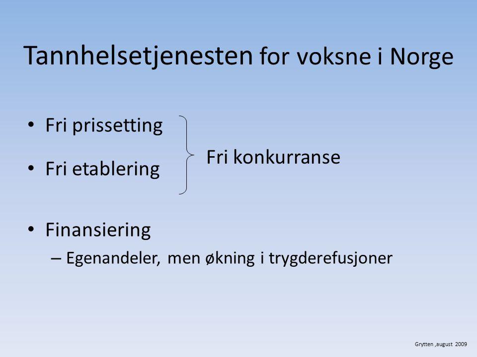 Tannhelsetjenesten for voksne i Norge Fri prissetting Fri etablering Finansiering – Egenandeler, men økning i trygderefusjoner Fri konkurranse Grytten