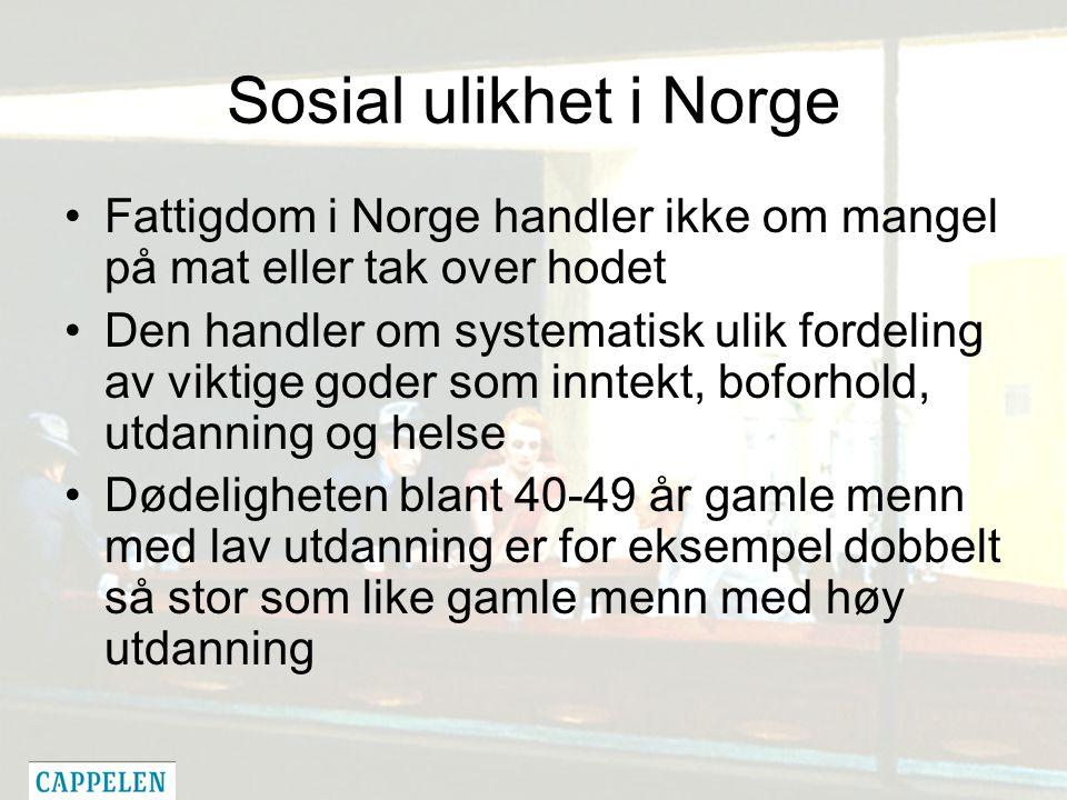 Sosial ulikhet i Norge Fattigdom i Norge handler ikke om mangel på mat eller tak over hodet Den handler om systematisk ulik fordeling av viktige goder