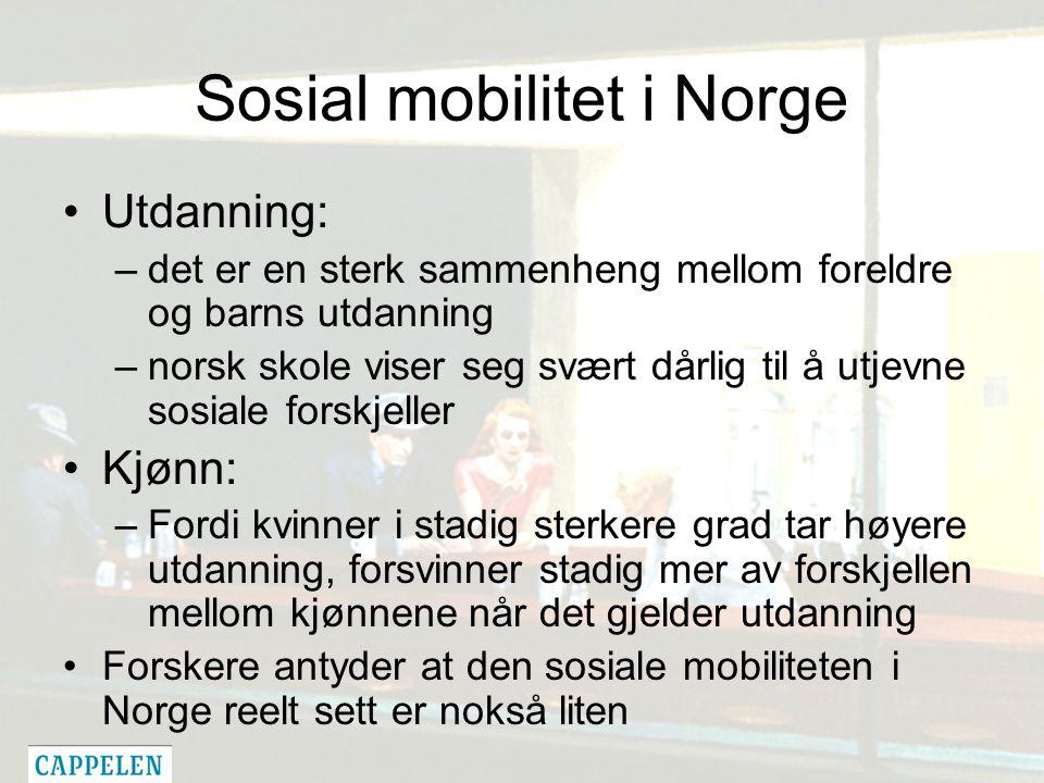 Sosial mobilitet i Norge Utdanning: –det er en sterk sammenheng mellom foreldre og barns utdanning –norsk skole viser seg svært dårlig til å utjevne sosiale forskjeller Kjønn: –Fordi kvinner i stadig sterkere grad tar høyere utdanning, forsvinner stadig mer av forskjellen mellom kjønnene når det gjelder utdanning Forskere antyder at den sosiale mobiliteten i Norge reelt sett er nokså liten