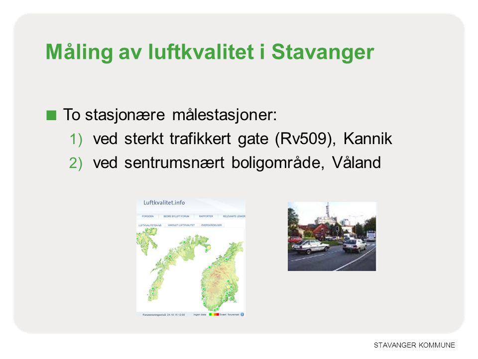 STAVANGER KOMMUNE Måling av luftkvalitet i Stavanger ■ To stasjonære målestasjoner: 1) ved sterkt trafikkert gate (Rv509), Kannik 2) ved sentrumsnært boligområde, Våland