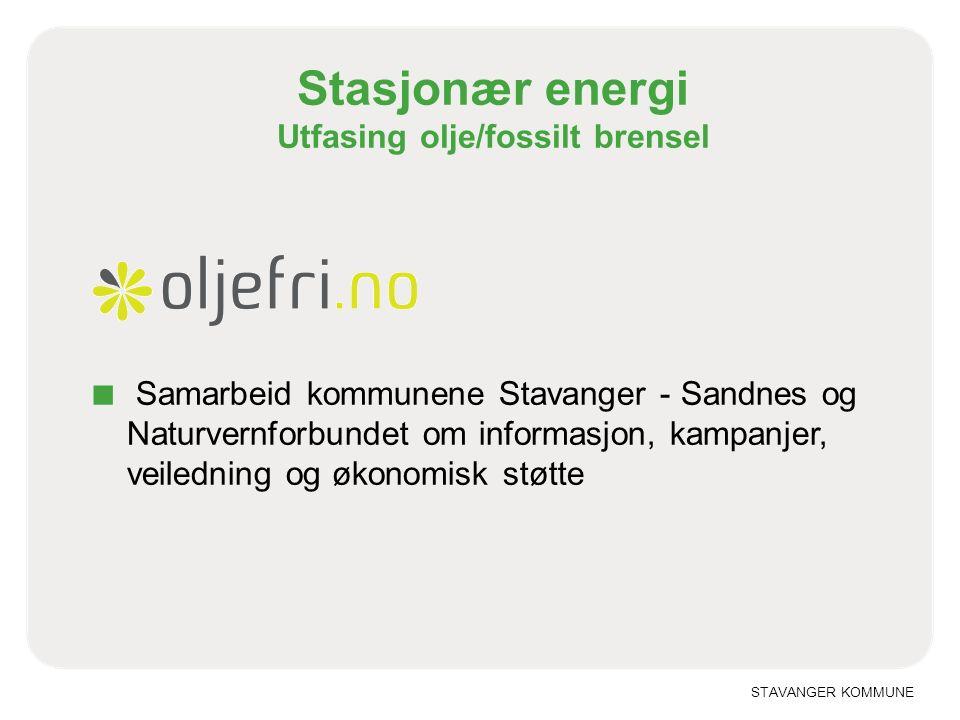 STAVANGER KOMMUNE Stasjonær energi Utfasing olje/fossilt brensel ■ Samarbeid kommunene Stavanger - Sandnes og Naturvernforbundet om informasjon, kampanjer, veiledning og økonomisk støtte