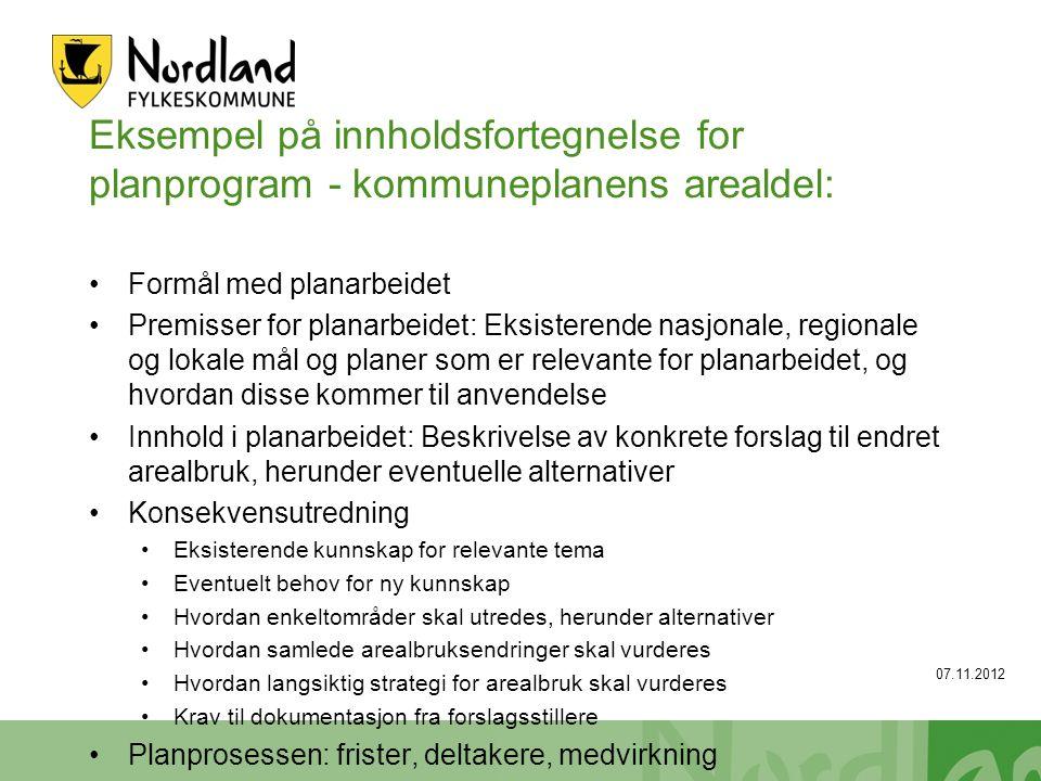 Eksempel på innholdsfortegnelse for planprogram - kommuneplanens arealdel: Formål med planarbeidet Premisser for planarbeidet: Eksisterende nasjonale,