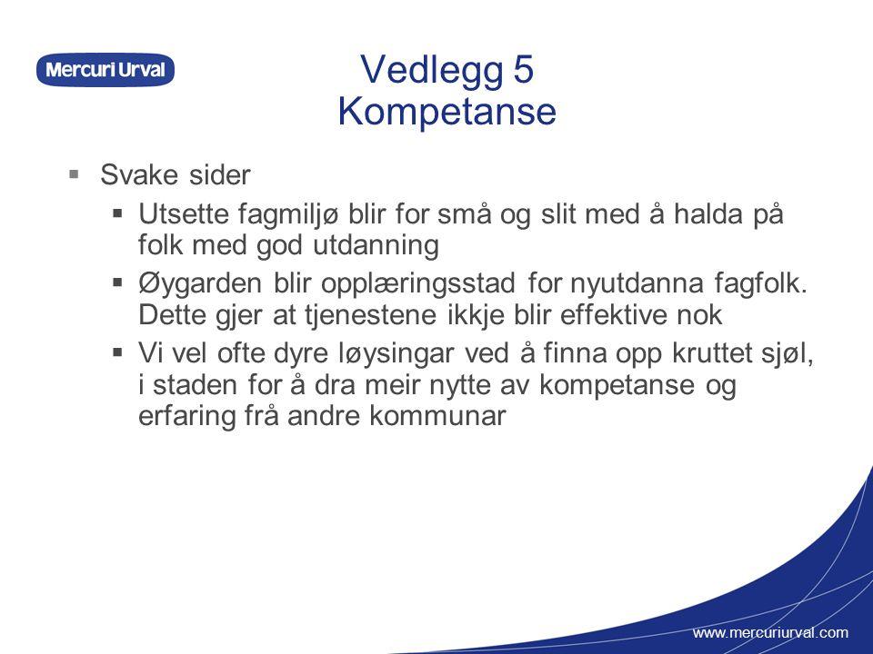 www.mercuriurval.com Vedlegg 5 Kompetanse  Svake sider  Utsette fagmiljø blir for små og slit med å halda på folk med god utdanning  Øygarden blir opplæringsstad for nyutdanna fagfolk.
