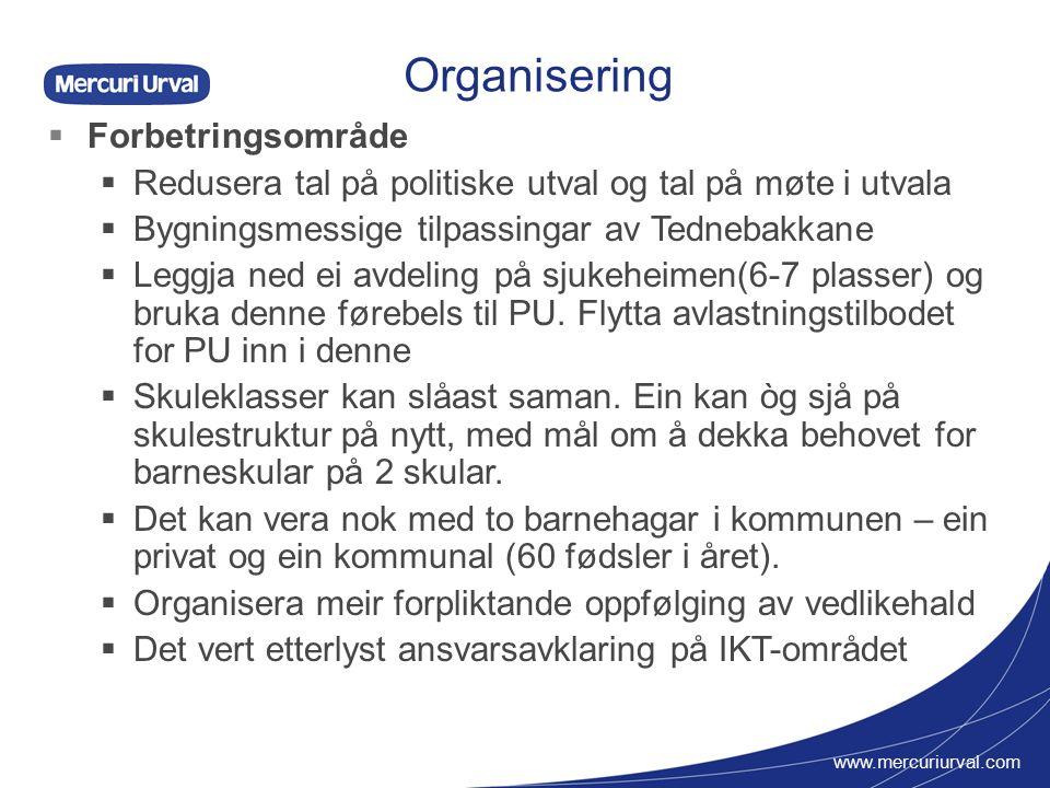 www.mercuriurval.com Organisering  Forbetringsområde forts  Brannvern: Færre vaktlag og færre personar i kvart lag.