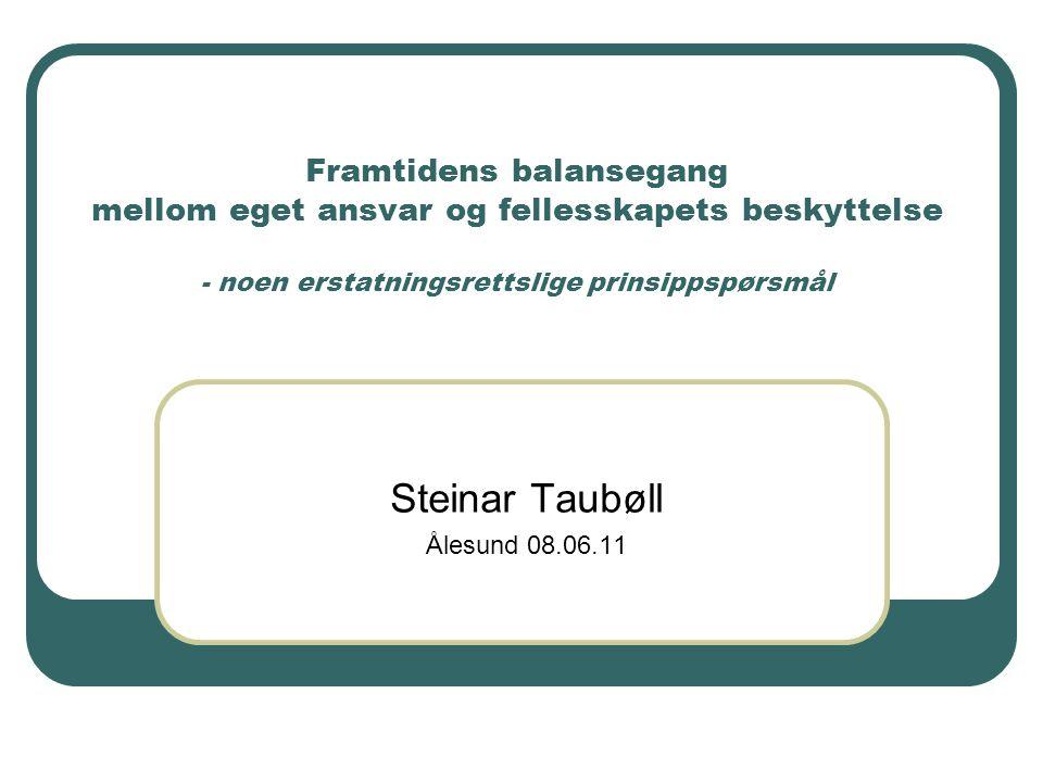 Framtidens balansegang mellom eget ansvar og fellesskapets beskyttelse - noen erstatningsrettslige prinsippspørsmål Steinar Taubøll Ålesund 08.06.11