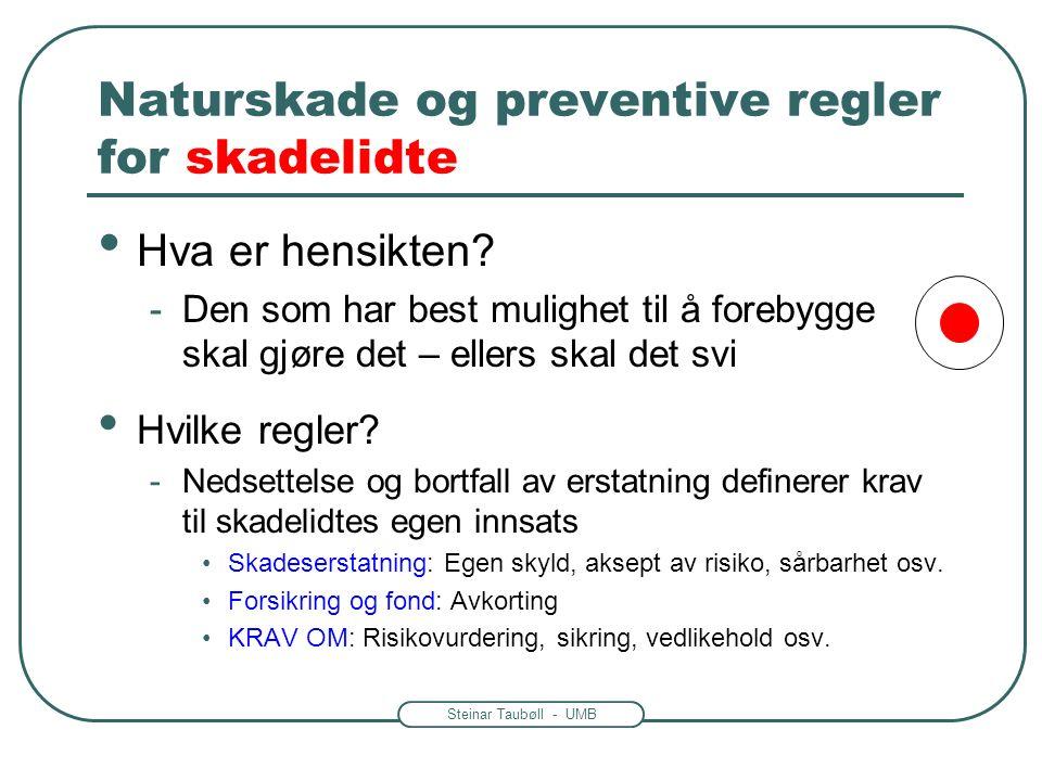 Steinar Taubøll - UMB Naturskade og preventive regler for skadelidte Hva er hensikten? -Den som har best mulighet til å forebygge skal gjøre det – ell