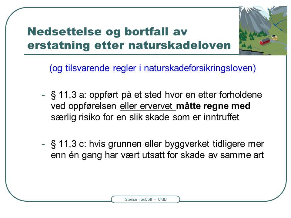 Steinar Taubøll - UMB Nedsettelse og bortfall av erstatning etter naturskadeloven (og tilsvarende regler i naturskadeforsikringsloven) -§ 11,3 a: oppf