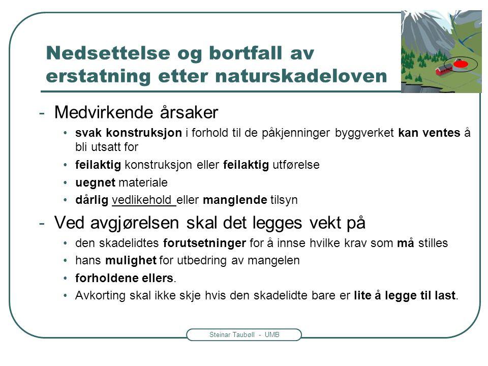 Steinar Taubøll - UMB Nedsettelse og bortfall av erstatning etter naturskadeloven -Medvirkende årsaker svak konstruksjon i forhold til de påkjenninger