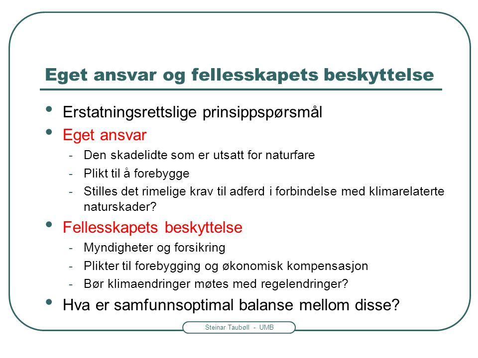 Steinar Taubøll - UMB Eget ansvar og fellesskapets beskyttelse Erstatningsrettslige prinsippspørsmål Eget ansvar -Den skadelidte som er utsatt for naturfare -Plikt til å forebygge -Stilles det rimelige krav til adferd i forbindelse med klimarelaterte naturskader.