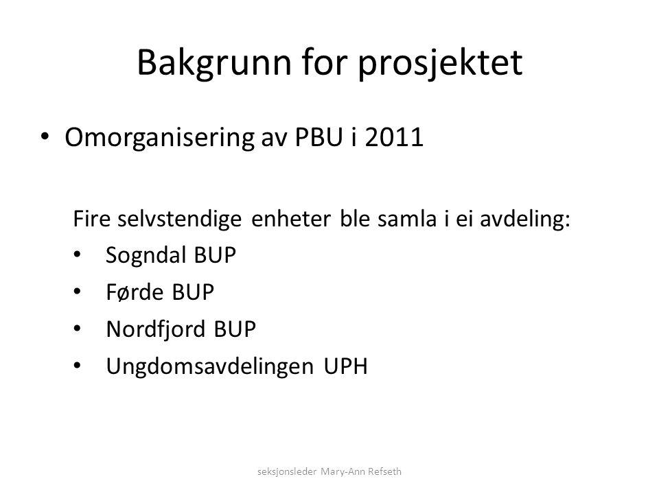 Bakgrunn for prosjektet Omorganisering av PBU i 2011 Fire selvstendige enheter ble samla i ei avdeling: Sogndal BUP Førde BUP Nordfjord BUP Ungdomsavdelingen UPH seksjonsleder Mary-Ann Refseth