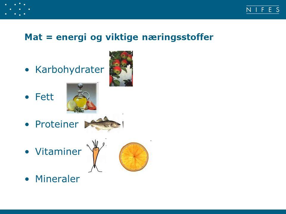 Mat = energi og viktige næringsstoffer Karbohydrater Fett Proteiner Vitaminer Mineraler