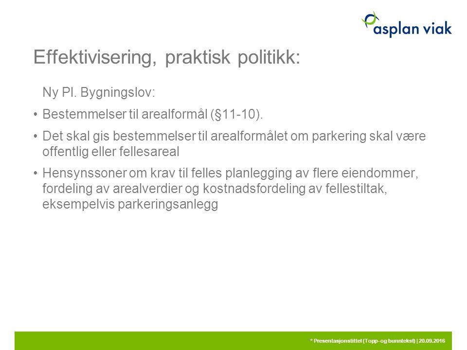 Effektivisering, praktisk politikk: Ny Pl. Bygningslov: Bestemmelser til arealformål (§11-10). Det skal gis bestemmelser til arealformålet om parkerin