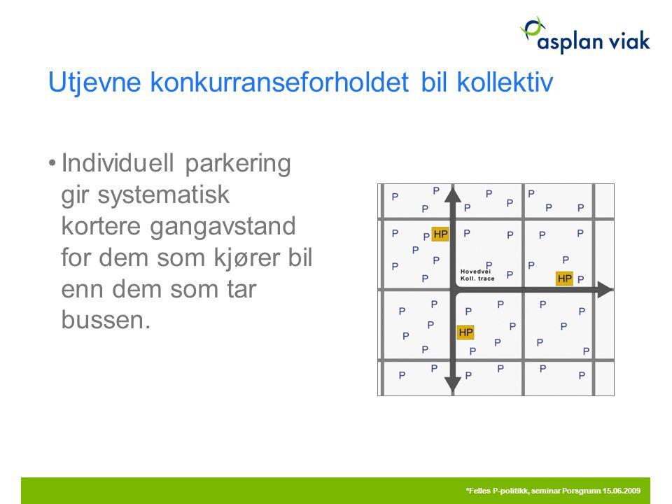 Utjevne konkurranseforholdet bil kollektiv Individuell parkering gir systematisk kortere gangavstand for dem som kjører bil enn dem som tar bussen.