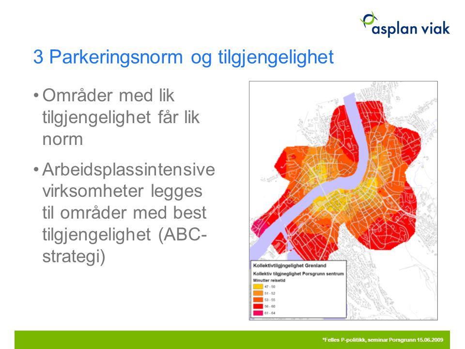 3 Parkeringsnorm og tilgjengelighet 20.09.2016 °Felles P-politikk, seminar Porsgrunn 15.06.2009 Områder med lik tilgjengelighet får lik norm Arbeidspl