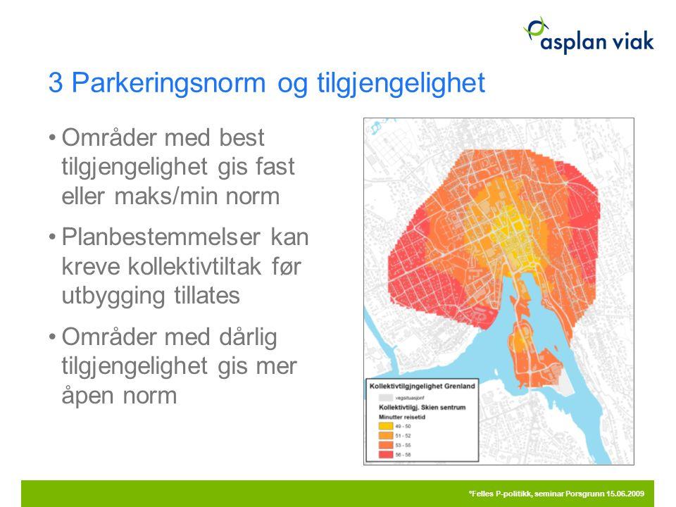 3 Parkeringsnorm og tilgjengelighet Områder med best tilgjengelighet gis fast eller maks/min norm Planbestemmelser kan kreve kollektivtiltak før utbyg