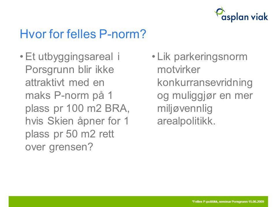 Hvor for felles P-norm? Et utbyggingsareal i Porsgrunn blir ikke attraktivt med en maks P-norm på 1 plass pr 100 m2 BRA, hvis Skien åpner for 1 plass