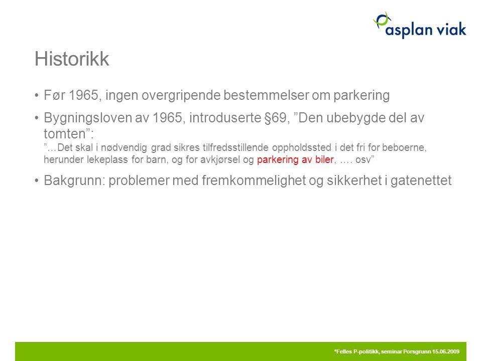 """Historikk Før 1965, ingen overgripende bestemmelser om parkering Bygningsloven av 1965, introduserte §69, """"Den ubebygde del av tomten"""": """"…Det skal i n"""