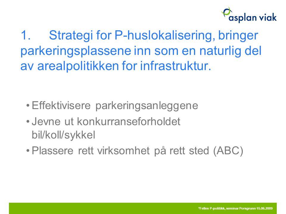 1.Strategi for P-huslokalisering, bringer parkeringsplassene inn som en naturlig del av arealpolitikken for infrastruktur. Effektivisere parkeringsanl