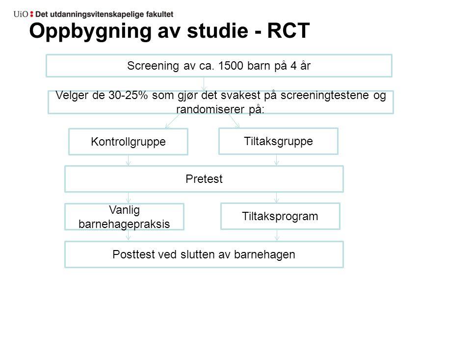 Oppbygning av studie - RCT Screening av ca. 1500 barn på 4 år Kontrollgruppe Tiltaksgruppe Vanlig barnehagepraksis Tiltaksprogram Pretest Posttest ved