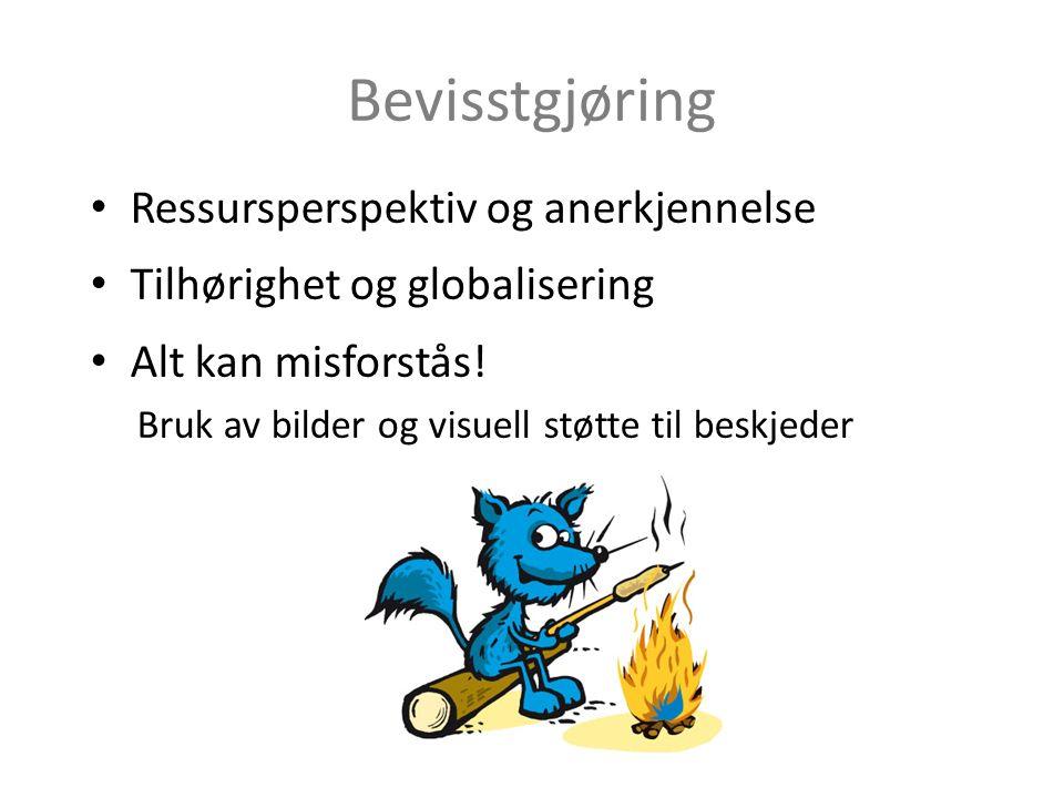 Bevisstgjøring Ressursperspektiv og anerkjennelse Tilhørighet og globalisering Alt kan misforstås! Bruk av bilder og visuell støtte til beskjeder