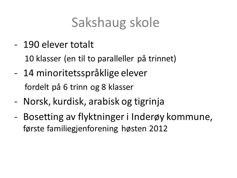 Sakshaug skole -190 elever totalt 10 klasser (en til to paralleller på trinnet) -14 minoritetsspråklige elever fordelt på 6 trinn og 8 klasser -Norsk,