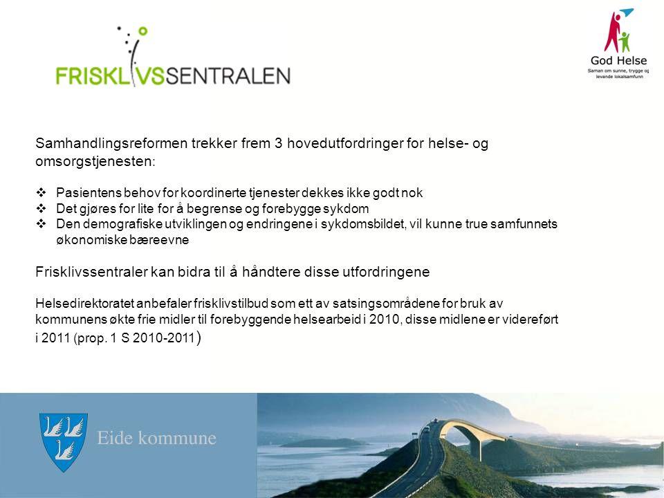 Bruk av tildelte midler fra fylkeskommunen: 3 personer fra kommunen deltok på nasjonal frisklivssentral konferanse i Ålesund Planleggingsmøter våren 2011 ift etablering av frisklivstilbud i kommunen, frikjøp av ressurser.
