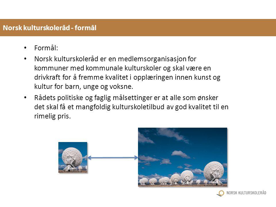 Norsk kulturskoleråd - formål Formål: Norsk kulturskoleråd er en medlemsorganisasjon for kommuner med kommunale kulturskoler og skal være en drivkraft for å fremme kvalitet i opplæringen innen kunst og kultur for barn, unge og voksne.