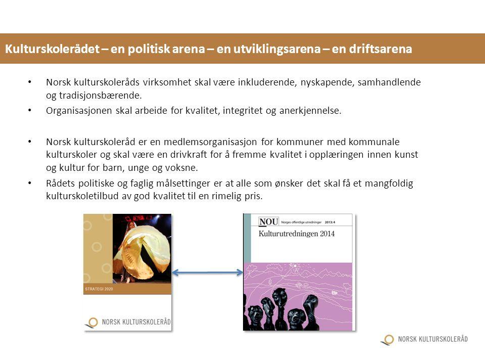 Kulturskolerådet – en politisk arena – en utviklingsarena – en driftsarena Norsk kulturskoleråds virksomhet skal være inkluderende, nyskapende, samhandlende og tradisjonsbærende.