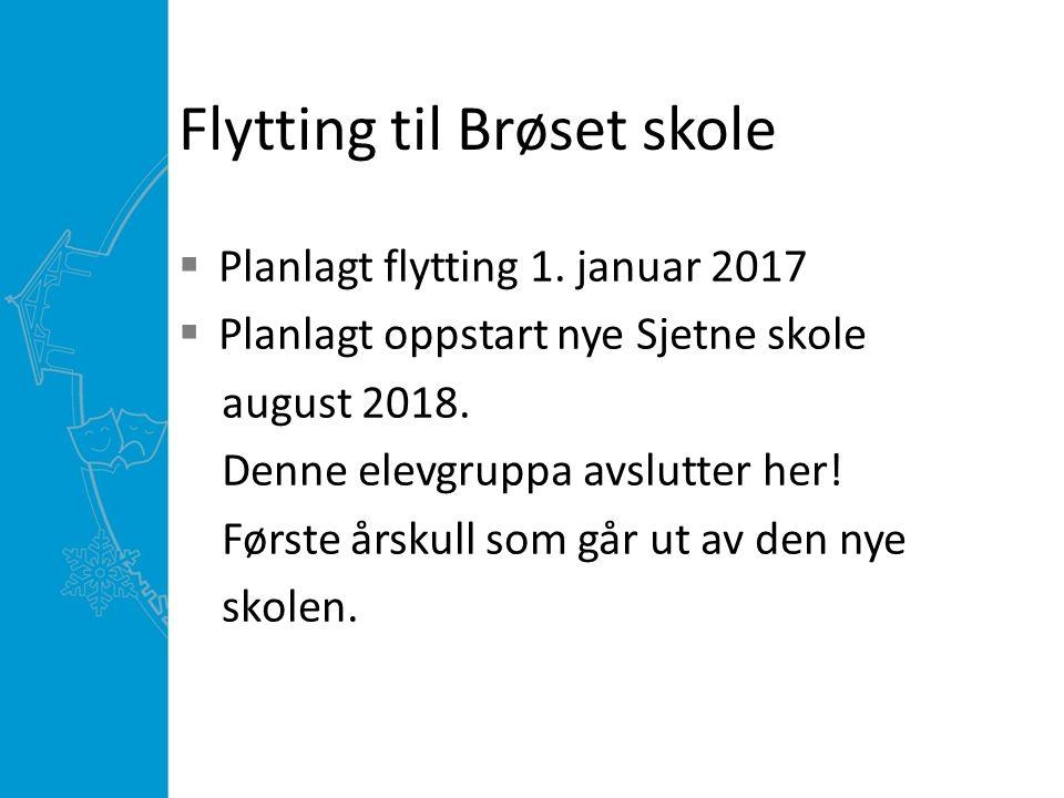 Flytting til Brøset skole  Planlagt flytting 1. januar 2017  Planlagt oppstart nye Sjetne skole august 2018. Denne elevgruppa avslutter her! Første