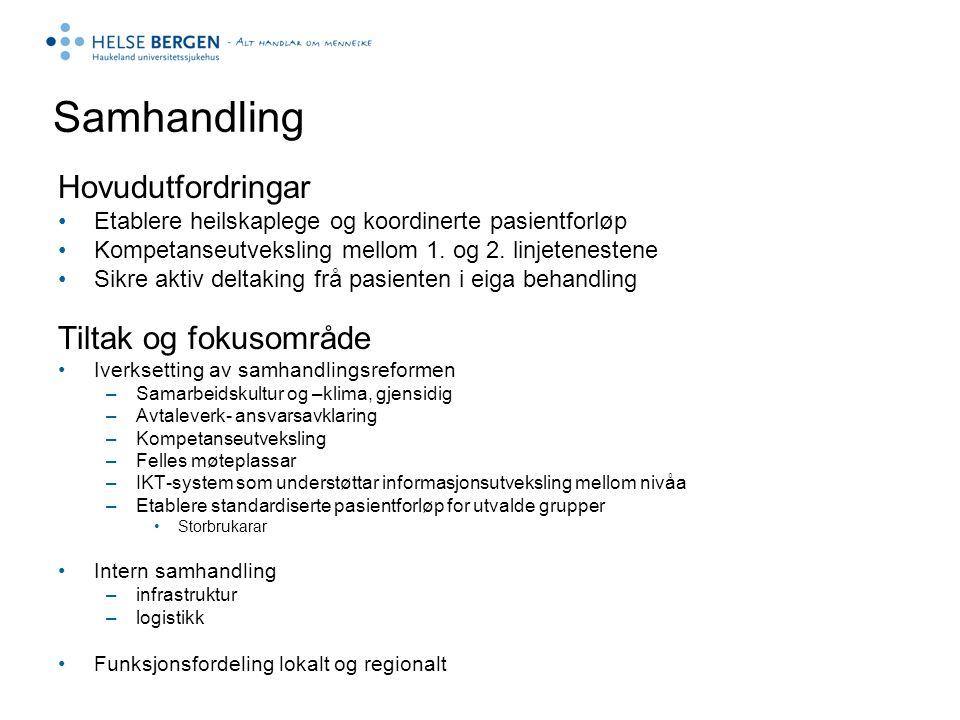 Samhandling Hovudutfordringar Etablere heilskaplege og koordinerte pasientforløp Kompetanseutveksling mellom 1. og 2. linjetenestene Sikre aktiv delta
