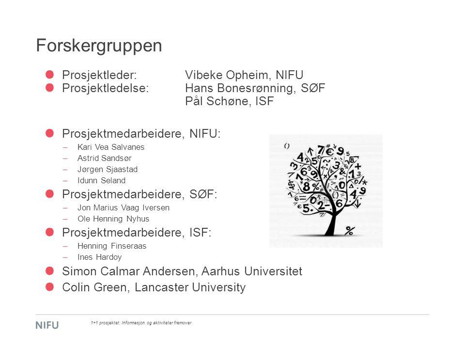 Forskergruppen Prosjektleder: Vibeke Opheim, NIFU Prosjektledelse: Hans Bonesrønning, SØF Pål Schøne, ISF Prosjektmedarbeidere, NIFU: –Kari Vea Salvan