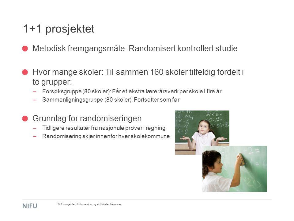 1+1 prosjektet Metodisk fremgangsmåte: Randomisert kontrollert studie Hvor mange skoler: Til sammen 160 skoler tilfeldig fordelt i to grupper: –Forsøk
