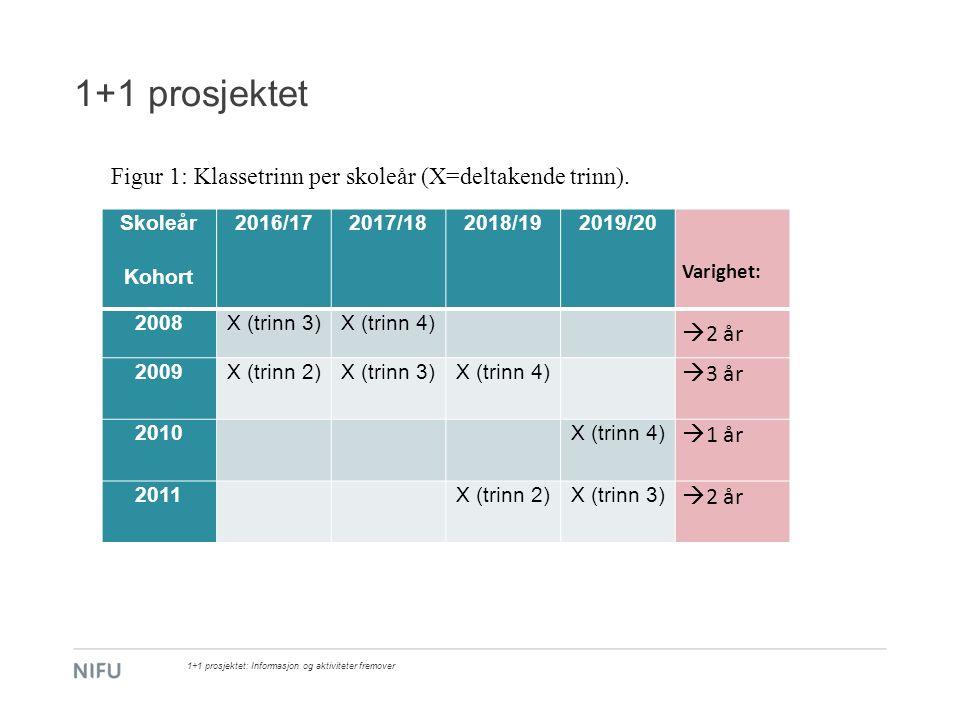 1+1 prosjektet 1+1 prosjektet: Informasjon og aktiviteter fremover Skoleår Kohort 2016/172017/182018/192019/20 Varighet: 2008X (trinn 3)X (trinn 4) 