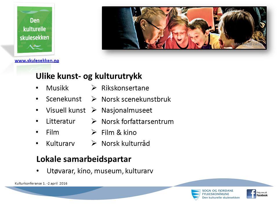 www.skulesekken.no Kulturkonferanse 1. -2.april 2016 2 Ulike kunst- og kulturutrykk Musikk Scenekunst Visuell kunst Litteratur Film Kulturarv  Riksko