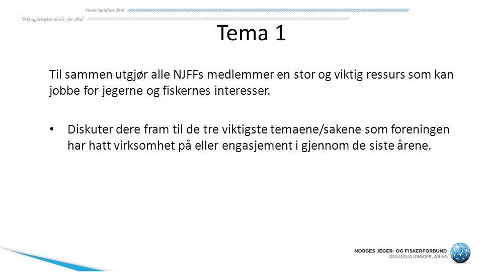 Tema 1 Til sammen utgjør alle NJFFs medlemmer en stor og viktig ressurs som kan jobbe for jegerne og fiskernes interesser. Diskuter dere fram til de t