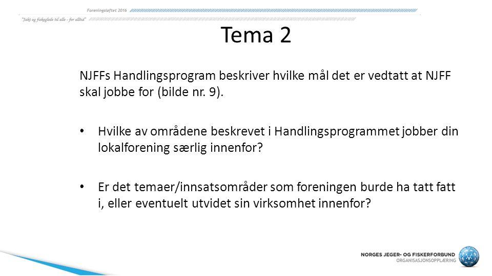 Tema 2 NJFFs Handlingsprogram beskriver hvilke mål det er vedtatt at NJFF skal jobbe for (bilde nr. 9). Hvilke av områdene beskrevet i Handlingsprogra